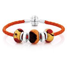 "Orange Leather, Glass & Sterling Silver 19cm (7.5"") Charm Bracelet"