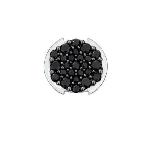Mini Coin Locket with Pave Set Black Crystals in Sterling Silver