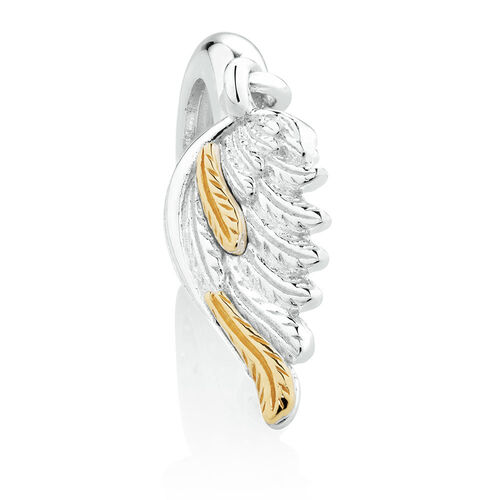 Wild Hearts Angel Wing Charm in Sterling Silver & 10ct Yellow Gold