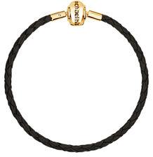 Black Leather Bracelet - Gold