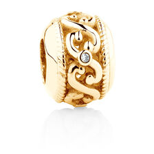 Online Exclusive - Diamond Set Swirl Charm in 10ct Yellow Gold