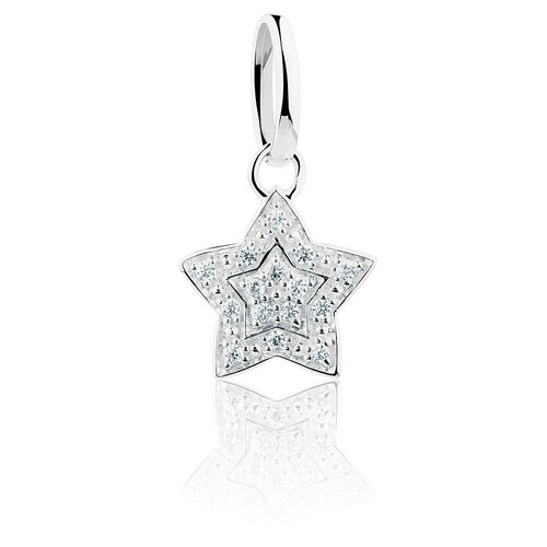 Star Mini Pendant with Cubic Zirconia in Sterling Silver