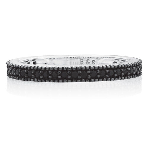 Milgrain Edge Stacker Ring with Black Cubic Zirconia in Sterling Silver
