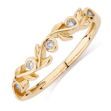Diamond Set 10ct Yellow Gold Leaf Stack Ring