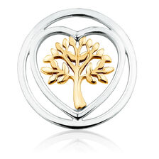 Tree of Life Coin Locket Insert in Sterling Silver & 10ct Yellow Gold