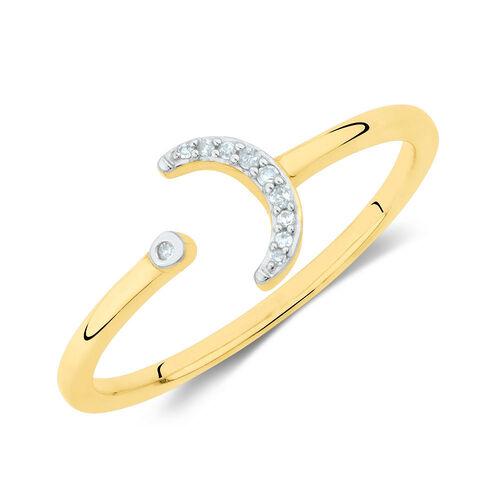Diamond Set Open Moon Ring in 10ct Yellow Gold