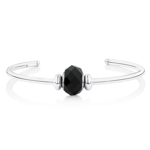 Cuff Bangle with Black Crystal in Sterling Silver