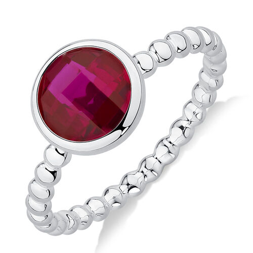 Bubble Stacker Ring with Created Ruby in Sterling Silver