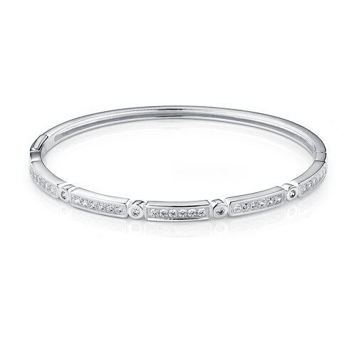 Patterned Bangle with Cubic Zirconia in Sterling Silver
