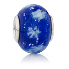 Online Exclusive - Blue Snowflake Glass Charm in Sterling Silver