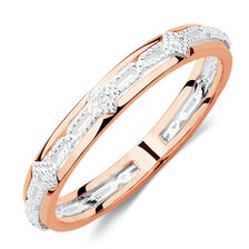 Diamond Set Art Deco Stacker Ring in 10ct Rose Gold & Sterling Silver