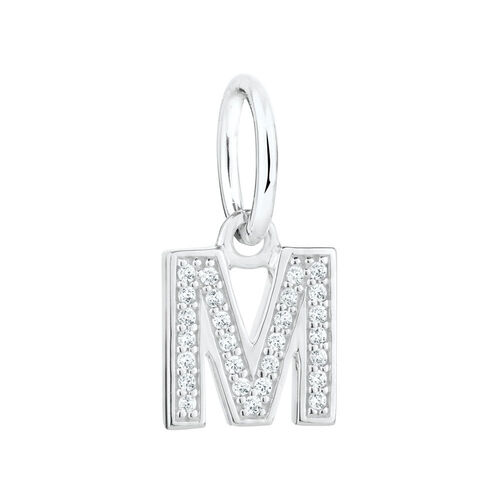 """M"" Initial Mini Pendant with Cubic Zirconia in Sterling Silver"