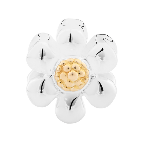 10ct Yellow Gold & Sterling Silver Daisy Charm