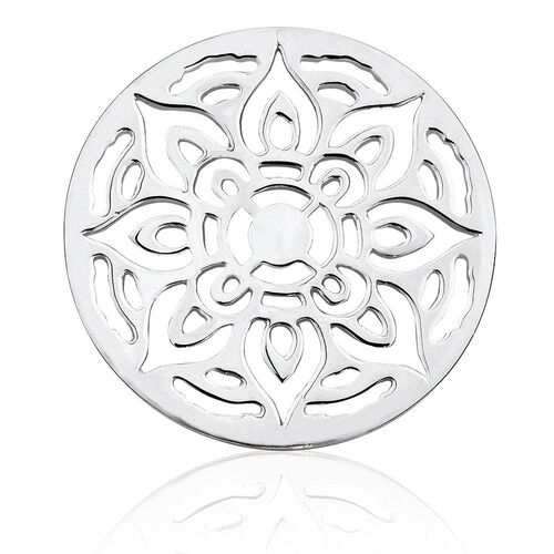 Sterling Silver Floral Patterned Coin Locket Insert
