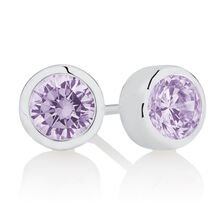 June Stud Earrings with Opaque White Cubic Zirconia in Sterling Silver
