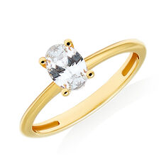 Oval Solitaire Ring with Cubic Zirconia in 10ct Yellow Gold