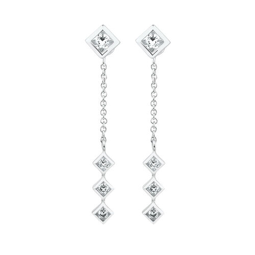 3 Pair Geometric Earring Set with Cubic Zirconia in Sterling Silver