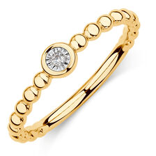 Diamond Set Bubble Stacker Ring in 10ct Yellow Gold