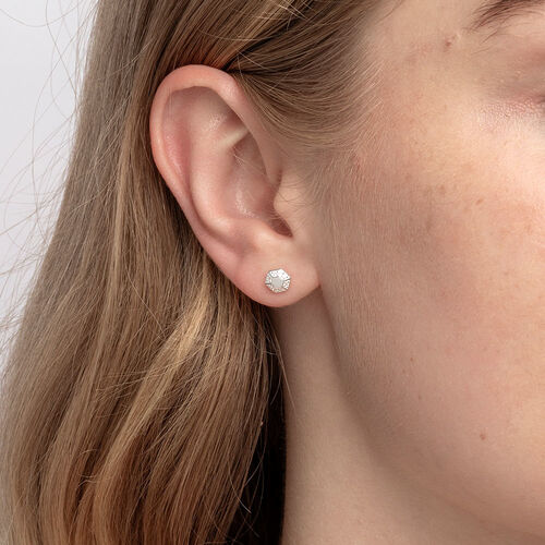 Hexagonal Stud Earrings with Cubic Zirconia in Sterling Silver