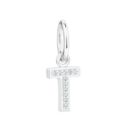 """T"" Initial Mini Pendant with Cubic Zirconia in Sterling Silver"