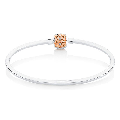 """17cm (7"""") Diamond Set Bangle in 10ct Rose Gold & Sterling Silver"""