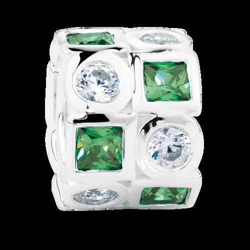 Dark Green & White Cubic Zirconia & Sterling Silver Charm