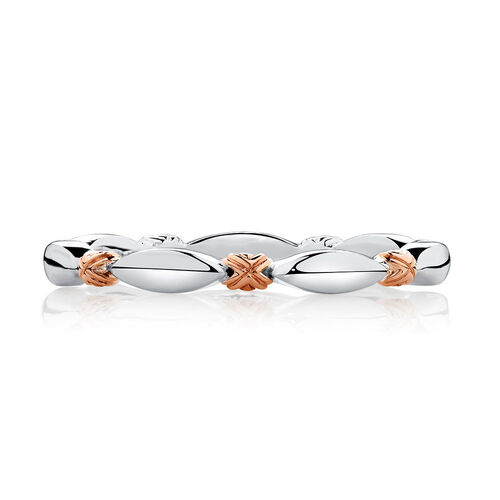 Sterling Silver & 10ct Rose Gold Scalloped Stacker Ring