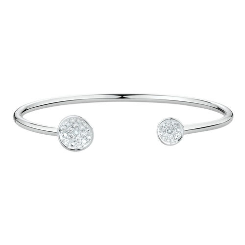 Open Cuff Bangle with Cubic Zirconia in Sterling Silver