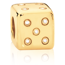 Diamond Set & 10ct Yellow Gold Dice Charm