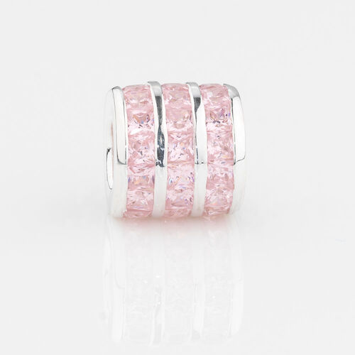 Online Exclusive - Triple Row Charm with Pink Cubic Zirconia in Sterling Silver