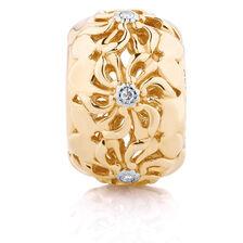 Diamond Set Daisy Charm in 10ct Yellow Gold