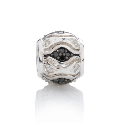 Online Exclusive - Diamond Set Charm with White & Enhanced Black Diamonds in Sterling Silver