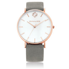 Large Watch in Grey Suede Leather & Rose Tone Stainless Steel