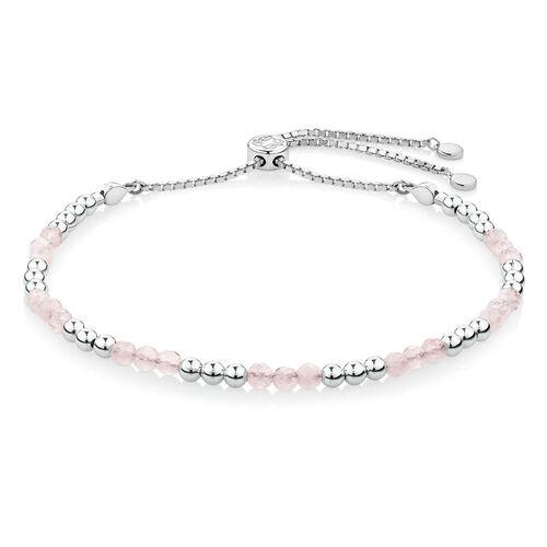 Adjustable Love Bracelet with Rose Quartz in Sterling Silver