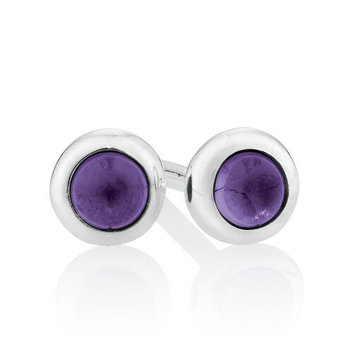 Stud Earrings with Amethyst in Sterling Silver