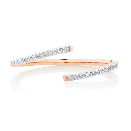 Diamond Set Spiral Ring in 10ct Rose Gold