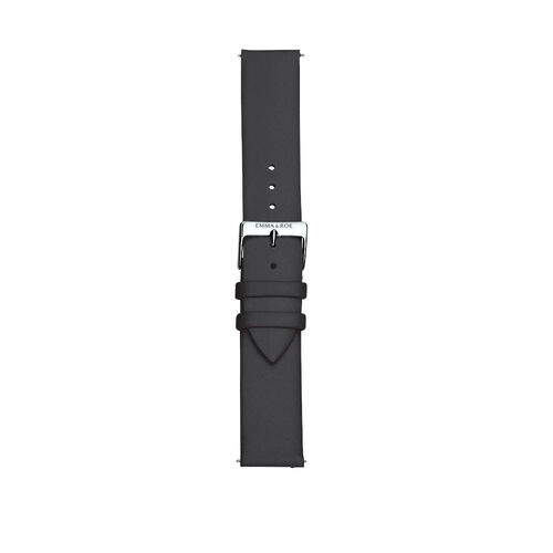 Large Watch Strap in Black Leather & Stainless Steel