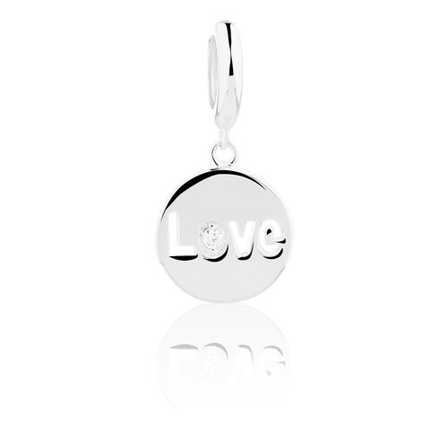 Wild Hearts 'Love' Dangle Charm with Cubic Zirconia in Sterling Silver