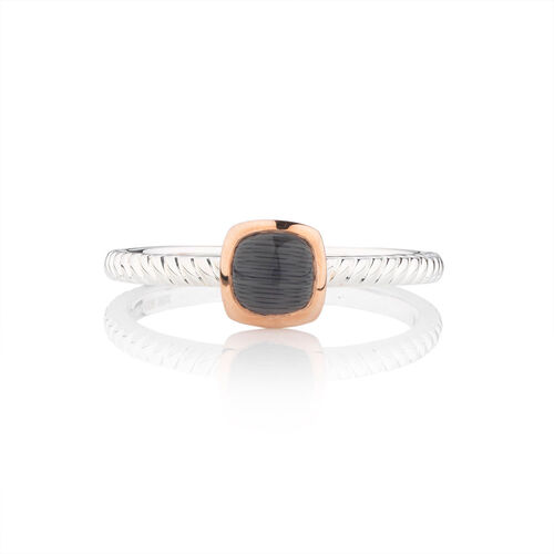 Online Exclusive - Stacker Ring with Black Moon Stone in 10ct Rose Gold & Sterling Silver