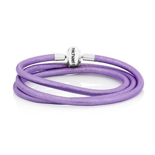 """Online Exclusive - Purple Triple Wrap Leather 61cm (24"""") Charm Bracelet"""