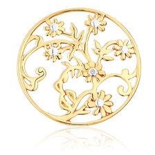 Diamond Set 10ct Yellow Gold Flower & Leaf Coin Locket Insert