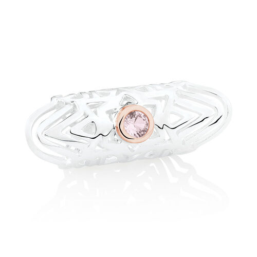Wild Hearts Sleeve Charm with Pink Crystal in Sterling Silver & 10ct Rose Gold