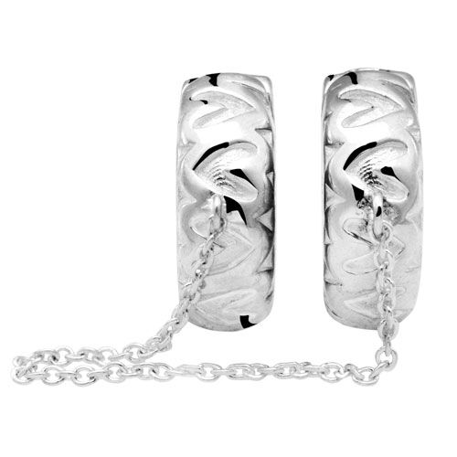 Sterling Silver Heart Patterned Safety Chain