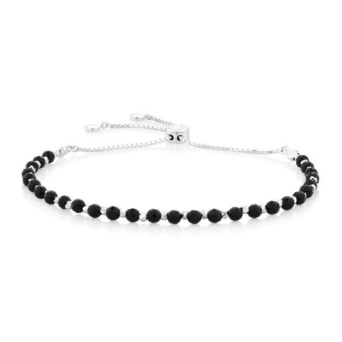"19cm (7.5"") Adjustable Bracelet with Onyx in Sterling Silver"