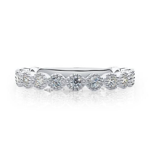 Stacker Ring with White Cubic Zirconia in Sterling Silver