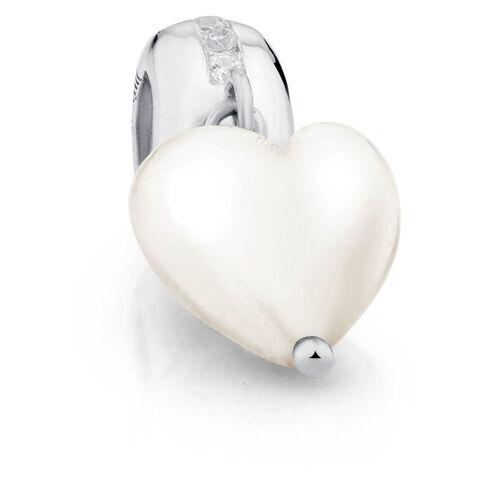 Cubic Zirconia & Sterling Silver Heart Dangle Charm