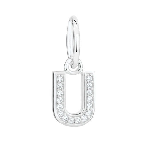 """""""U"""" Initial Mini Pendant with Cubic Zirconia in Sterling Silver"""