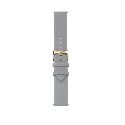 Large Watch Strap in Light Blue Leather & Gold Tone Stainless Steel