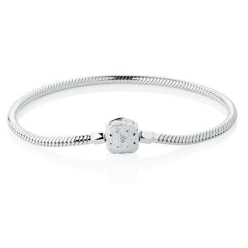 """19cm (7.5"""") Charm Bracelet with Cubic Zirconia Set Clasp in Sterling Silver"""