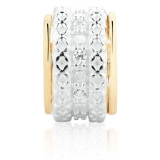 Wild Hearts Charm with Cubic Zirconia in Sterling Silver & 10ct Yellow Gold